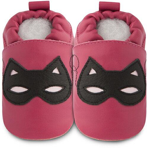 【HELLA 媽咪寶貝】英國 shooshoos 安全無毒真皮手工鞋/學步鞋/嬰兒鞋_桃紅蒙面俠_BAR70 (公司貨)