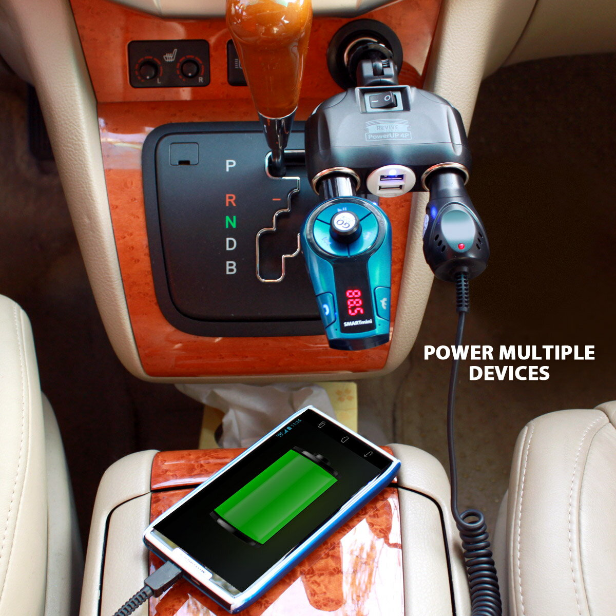 PowerUP 4P 4 Port Car Phone Charger & DC Adapter with Dual USB Charging Ports & DC Ports by ReVIVE 7