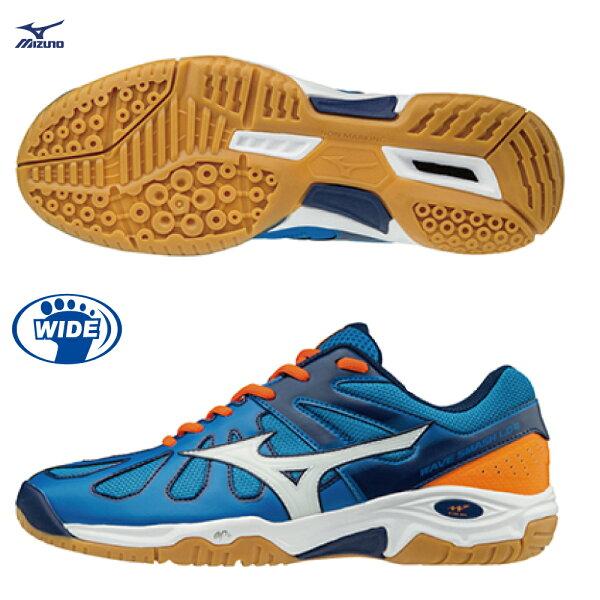 71GA186001(藍X白X橘)WAVESMASHLO4羽球鞋【美津濃MIZUNO】