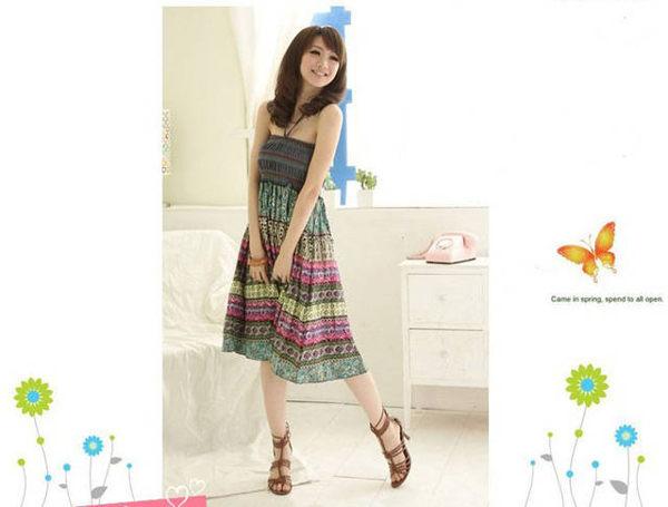 波西米亞亞麻洋裝 / 長裙 (可兩穿)【27103】藍色巴黎 《 5色》現貨+預購 5