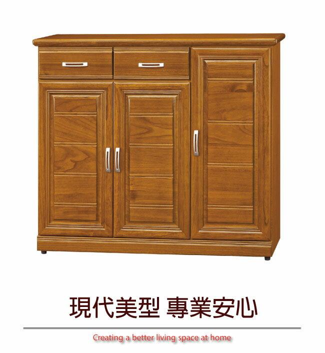 【綠家居】米拉 時尚4尺實木三門二抽鞋櫃/收納櫃