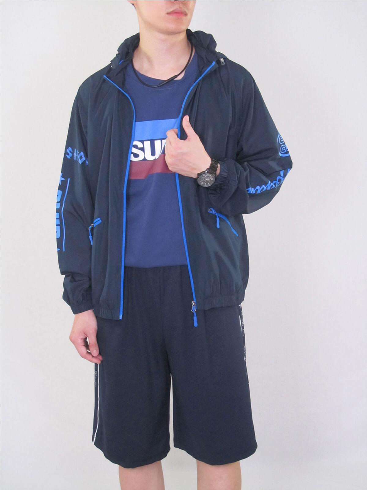 配色薄外套 遮陽防曬休閒外套 防風外套 運動暖身外套 風衣外套 JACKET (321-8878-01)螢光綠、(321-8878-02)深藍色、(321-8878-03)黑色 M L XL 2L(胸圍44~50英吋) [實體店面保障] sun-e 1