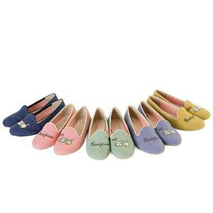 (現貨)BONJOUR三隻腳樂福鞋☆不對稱帆布貓咪電繡2穿平底鞋C. 【ZB0227】5色 1