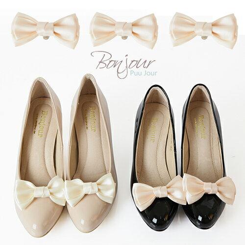 Bonjour夾式Princess鞋花~素面淡雅蝴蝶結扣飾F.~ZSD102~兩色I.