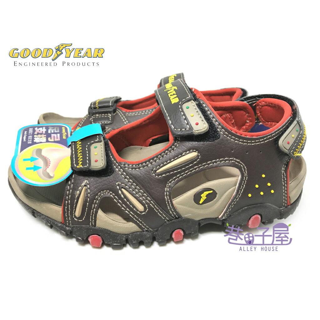 【巷子屋】GOODYEAR固特異 自然系列-大地 男童專業足弓支撐運動涼鞋 [48633] 咖紅 超值價$198