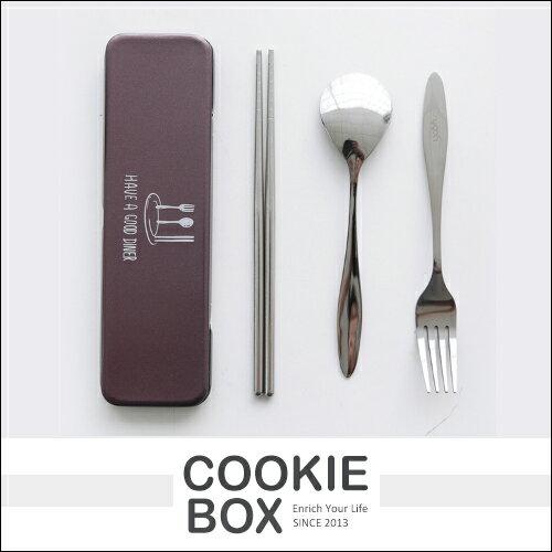 開飯啦 金属 啞光 餐具 套裝 盒裝 叉子 筷子 湯匙 質感 光澤 組合 環保 *餅乾盒子*