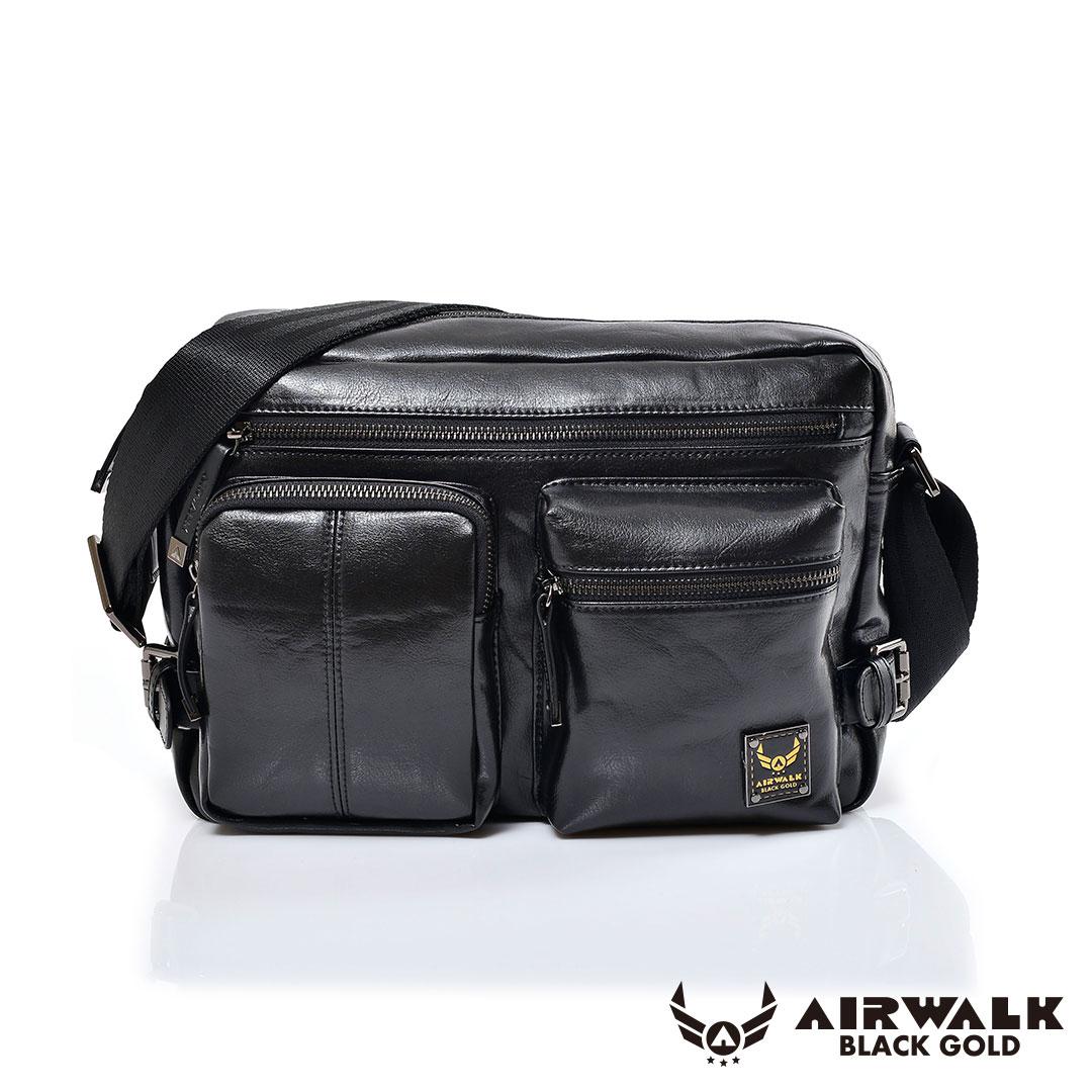 <br/><br/>  AIRWALK黑金系列-雅緻爵士雙口袋實用側背包《黑》<br/><br/>