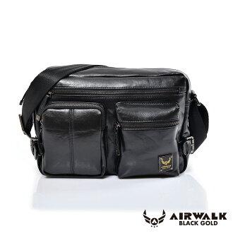 AIRWALK黑金系列-雅緻爵士雙口袋實用側背包《黑》