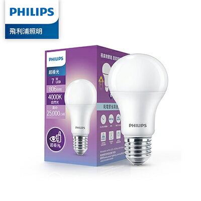Philips 飛利浦 超極光 7W LED燈泡-白色4000K 12入(PL002-12)
