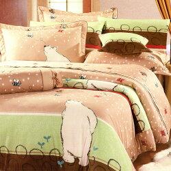 【名流寢飾家居館】淘氣北極熊(棕).100%精梳棉.加大雙人床罩組全套.全程臺灣製造