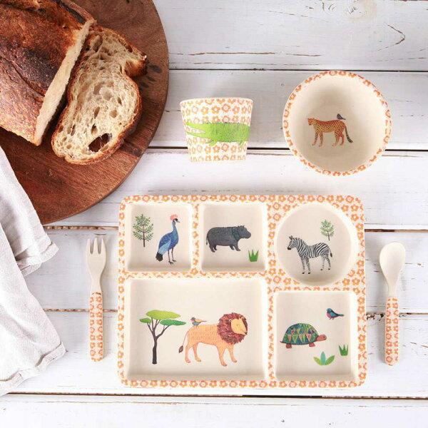orin 原品設計:《LoveMae》野生動物園5件組-無毒竹製兒童餐具