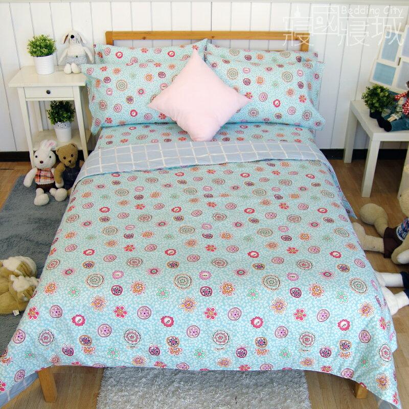 加大雙人床包涼被4件組-花樣格紋 【精梳純棉、吸濕排汗、觸感升級】台灣製造 # 寢國寢城 4