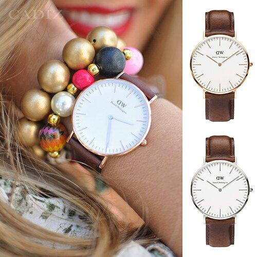 【Cadiz】瑞典正品 Daniel Wellington 手錶 0106DW玫瑰金 0207DW銀色 CLASSIC ST MAWES 棕色皮革 40mm 對錶 情侶錶 男女錶 兩年保固