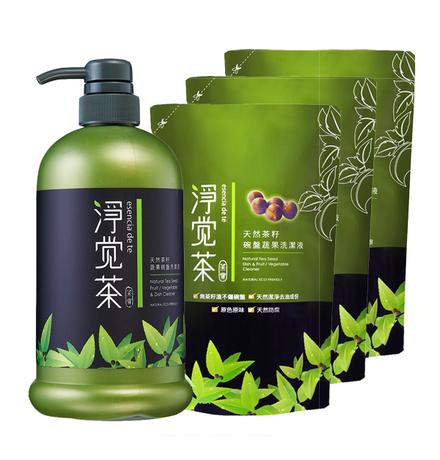 【淨覺茶】天然茶籽蔬果碗盤洗潔液1瓶+補充包3包(獨家優惠組)