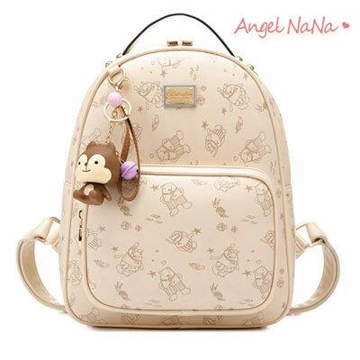 後背包-可愛小熊印花小狐狸吊飾高質感女雙肩包 AngelNaNa 【BA0228】