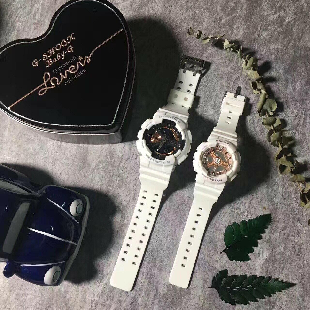 國外代購CASIO G-SHOCK GA-110RG7A & BABY-G BA-1107A1 情侶對錶 雙顯 防水手錶