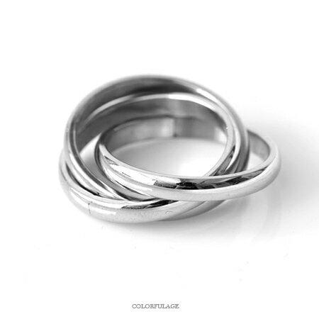 戒指 素面銀色三環鋼製指環 ^~NC196^~ 柒彩年代
