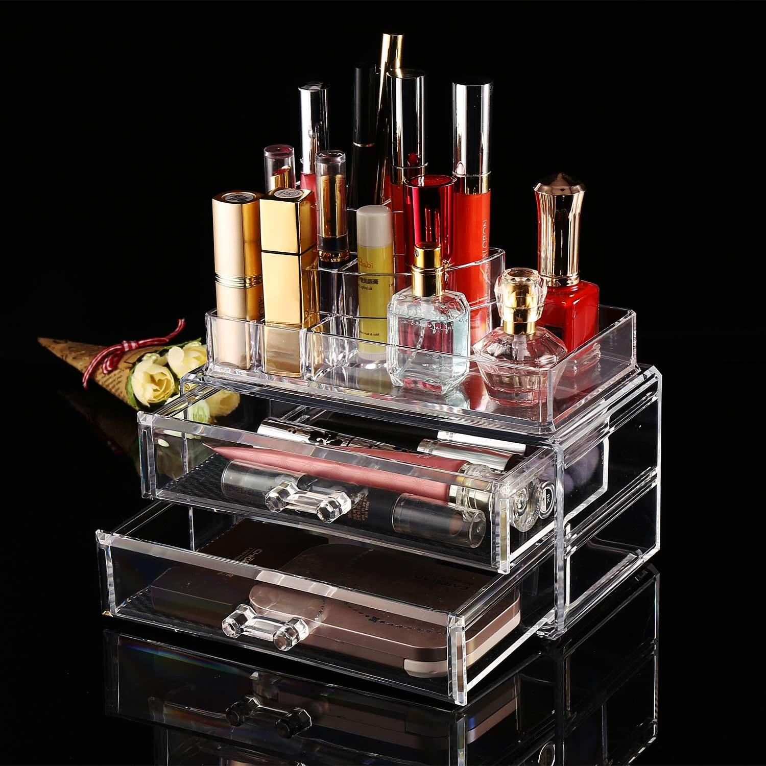 2 Drawer Container Storage Cosmetics Organizer Acrylic Display Tabletop 1