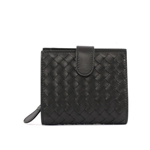 【BOTTEGA VENETA】小羊皮編織 零錢袋 短夾(黑色) 121059 V001N 1000