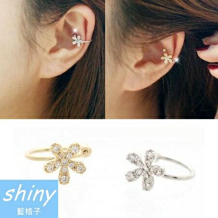 【DJJ4403】shiny藍格子-時尚小花朵鑲鑽耳夾