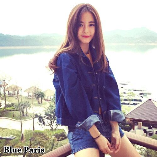 牛仔外套 襯衫領開襟雙大口袋丹寧外套 夾克 短版外套~29187~藍色巴黎 ~