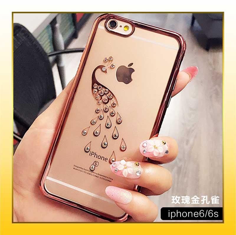 iPhone6 6S 6S plus簡約低調奢華閃亮鑲鑽透明防摔iPhone手機保護殼~金