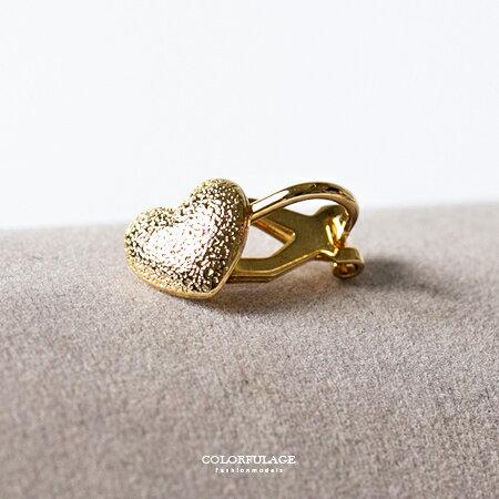 貼耳耳夾式耳環 霧面金色愛心 簡單好搭配 有無耳洞可配戴 迷人質感 柒彩年代【ND227】單支價格 0