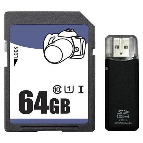 3C Pro 64GB 64G SD SDHC SDXC Secure Digital Extended Capacity Card UHS-1 Class 10 + Reader 0