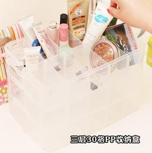 美麗大街【BFG19E5E21EL001】帶提手可拆卸透明儲物盒小物收納盒(3層30格)