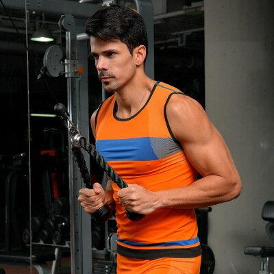 50%OFF SHOP【AD021839C】新款撞色超強彈性無縫男士速乾塑身運動緊身衣背心