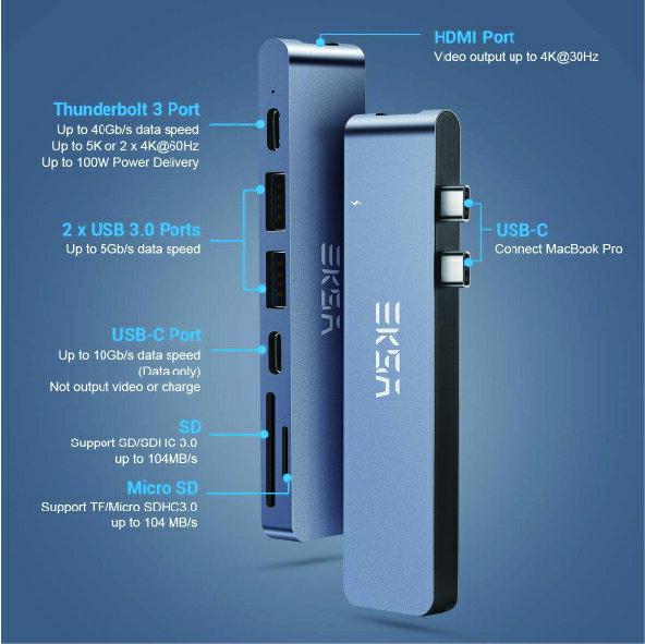 EKSA Type-C HUB HDMI 7合1 多功能充電傳輸集線器  - S09-003-02