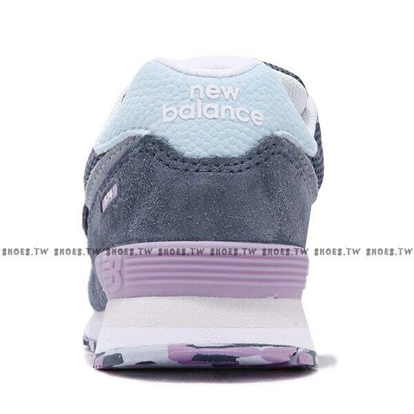 Shoestw【YV574UJA】NEW BALANCE NB574 運動鞋 黏帶 中童鞋 Wide 灰藍淺紫 2