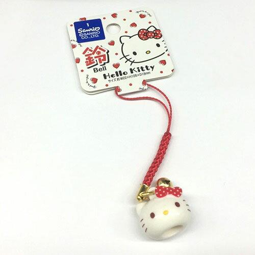 【唯愛日本】17052300024 祈福鈴鐺根付-KT頭 三麗鷗 Hello Kitty 凱蒂貓 手機吊飾 鎖圈 正品