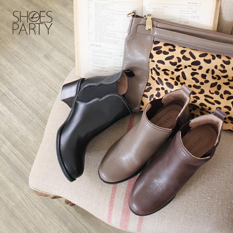 【B2-18722L】葫蘆形鬆緊帶粗跟短靴_Shoes Party 0