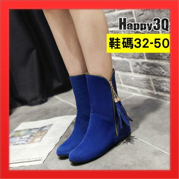 平底女靴短靴流蘇側邊拉練毛絨面大尺碼50小尺碼32女鞋49-紅黑棕藍32-50【AAA4627】