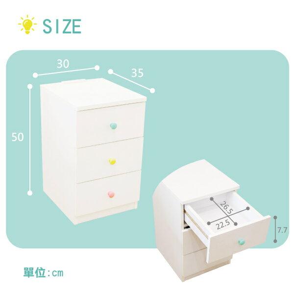 收納櫃 置物櫃 邊櫃 床頭櫃 馬卡龍系列日系床頭櫃(三抽屜-大款) (附插座) 天空樹生活館 9
