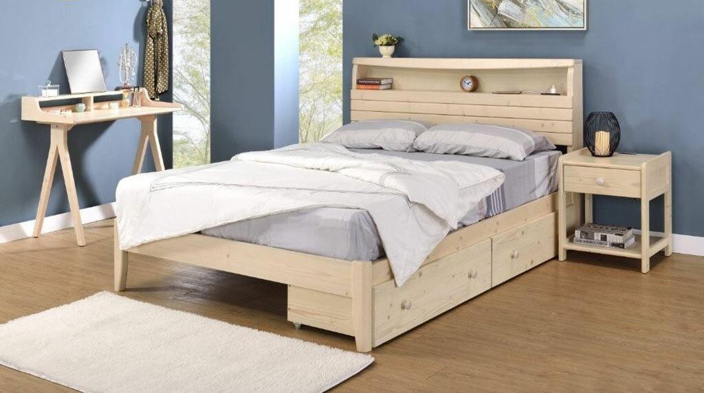 【尚品傢俱】YC-21 3.5尺單人床(附插座)~另有5尺雙人床、可選洗白/胡桃~
