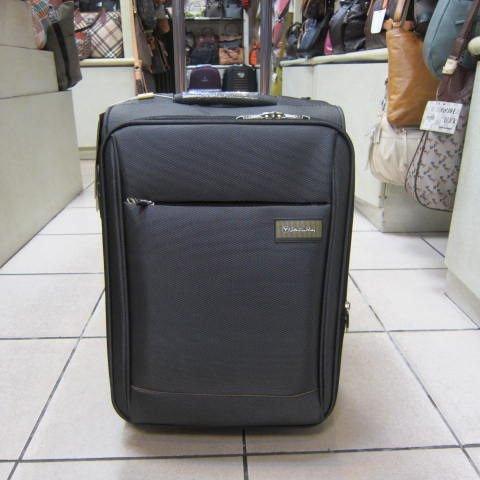 ~雪黛屋~義大利 范倫鐵諾 18吋 高丹數防潑水布蜂巢板材質拉桿行李箱 鋁合金多段拉桿 深灰
