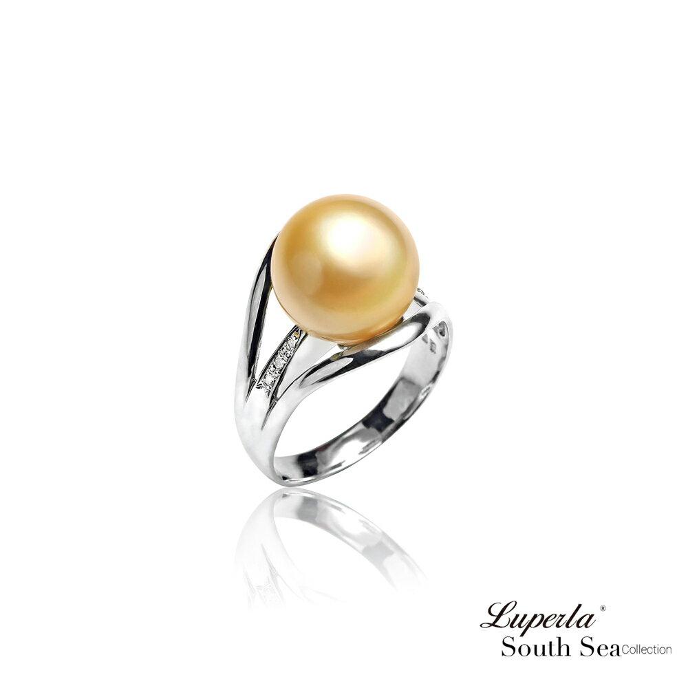 大東山珠寶 奢豪天際 南洋金珠頂級真鑽18K白金戒指 0