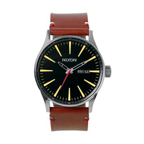 NIXON 追隨潮流咖啡色皮帶腕錶/A105-019