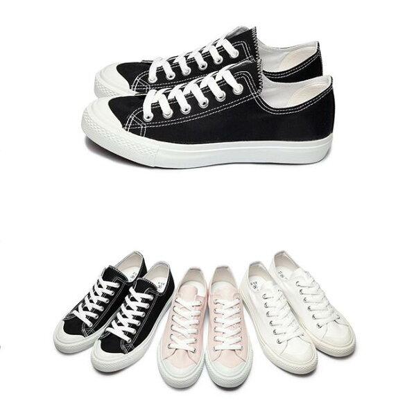 My style:【Mystyle】富發牌1CM03奶油頭帆布休閒鞋(黑.米.粉)23-25號-任兩雙免運