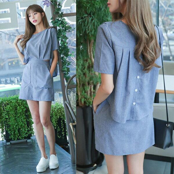 《全店8折!滿888再折$100》韓國連線兩件式寬鬆顯瘦條紋短袖洋裝 (S-XL) - 梅西蒂絲(現貨+預購) - 限時優惠好康折扣