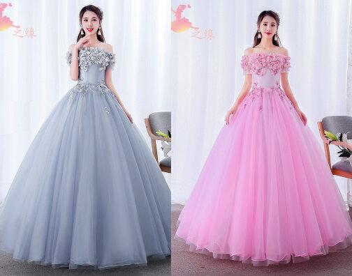 天使嫁衣【HU001】一字領花片蕾絲貼花主題彩紗晚禮服˙預購客製款