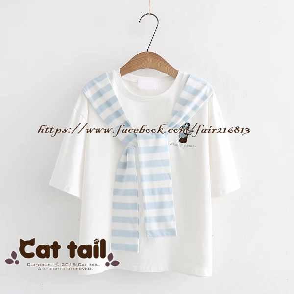 《貓尾巴》TS-0726可愛刺繡條紋綁帶短袖上衣(森林系日系棉麻文青清新)
