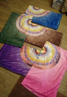 禪謦脈輪能量毛毯(粉紅、咖啡、綠、藍、紫共5色可選)珊瑚絨毯、保暖、輕盈