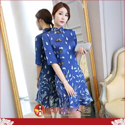【水水女人國】~你的夏日~優雅中國風~藍晶。復古原創雪紡印花時尚改良式修身顯瘦中袖俏麗魚尾裙旗袍洋裝