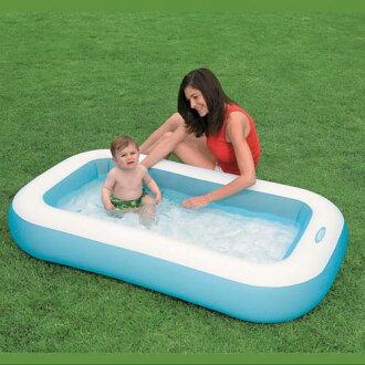 【奇買親子購物網】INTEX 嬰兒長方型游泳池(氣墊底)166*100*28CM