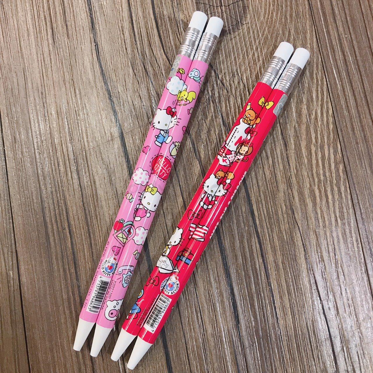 【真愛日本】18090700013 二入仿木鉛自動鉛筆組-兩色 凱蒂貓 kitty 自動鉛筆 鉛筆 自動筆 兩入 書寫用品 文具
