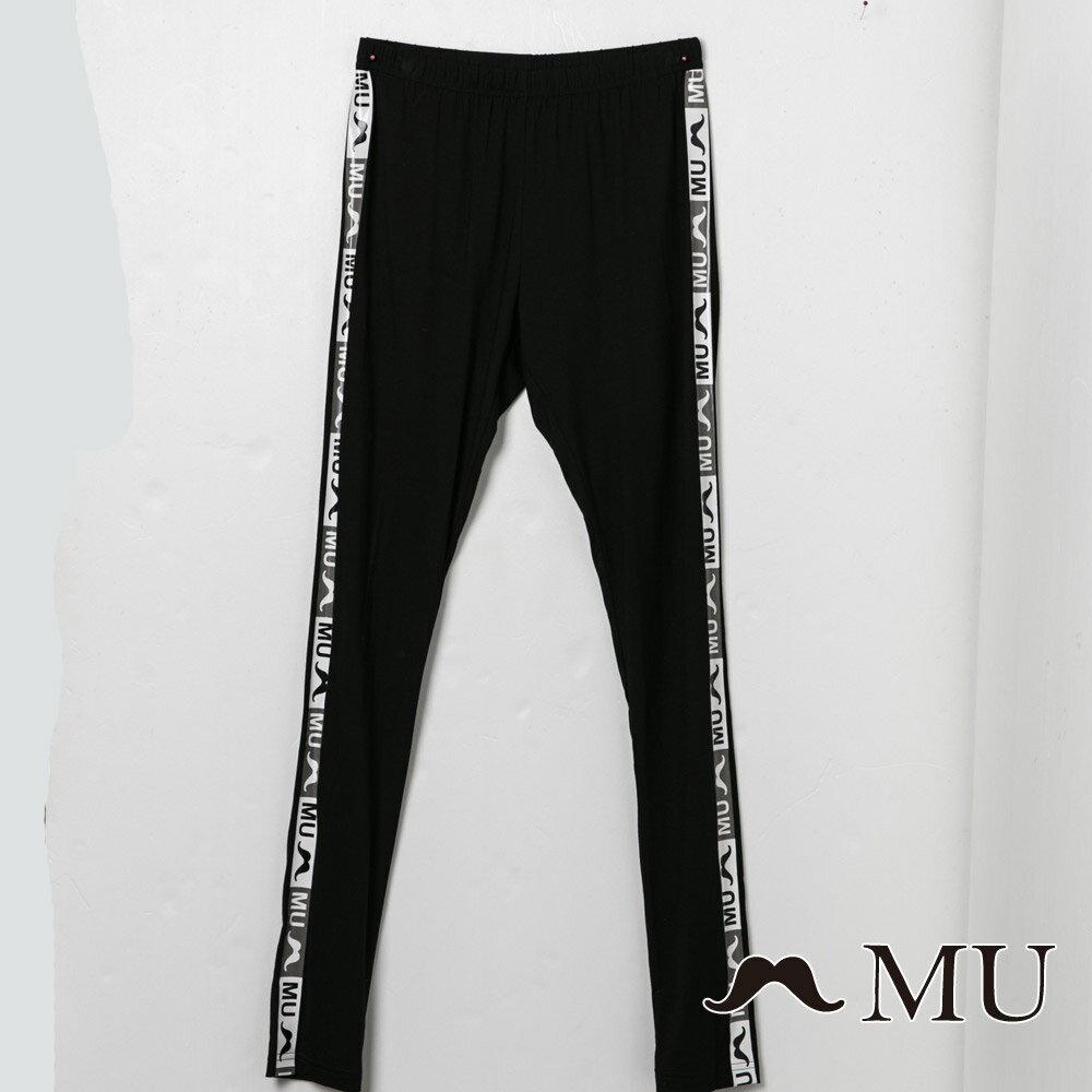 【MU】字母織帶超彈性緊身內搭褲(2色)8315361 3