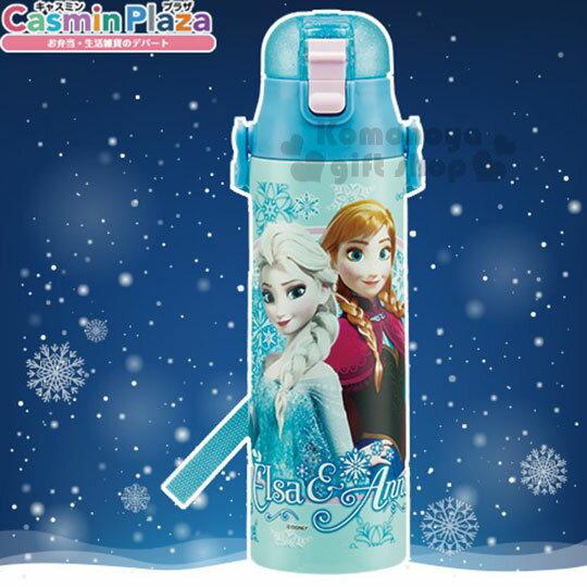 〔小禮堂〕冰雪奇緣 直飲式不銹鋼保冷瓶《淺藍.姊妹.雪花.770ml》安全扣壓彈跳蓋